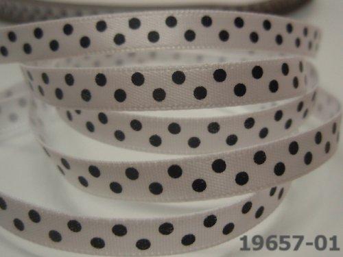 19657-B01 Stuha 6mm bílá/černé puntíky, svazek 5m