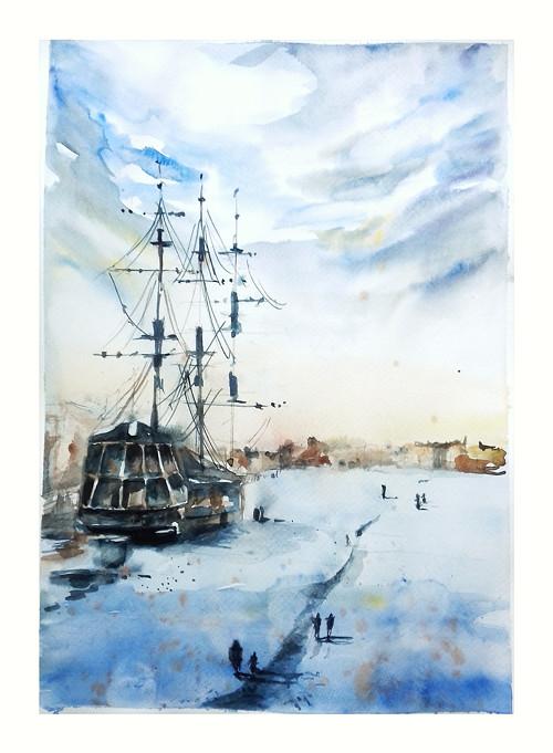 Zima ve Meste, Velky originalni obraz A3