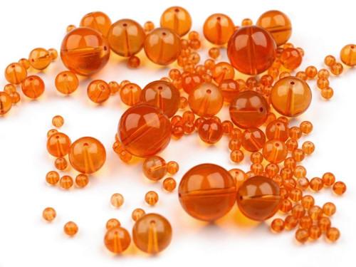 Korálky sklo mix 4-18mm - oranžové (95gr)