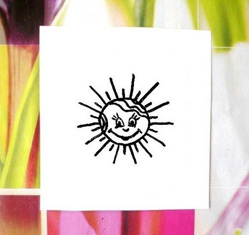 Sluníčko s vlnitými vlásky... Omyvatelné razítko.