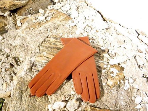 Rezavé rukavice s hedvábnou podšívkou na zakázku