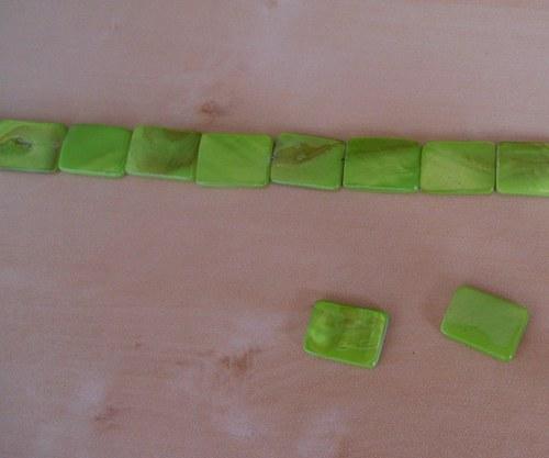 Perleťové obdélníky velké  zelené - 4 ks