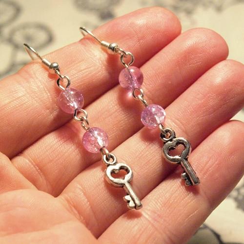 Náušnice - Růžové klíčky