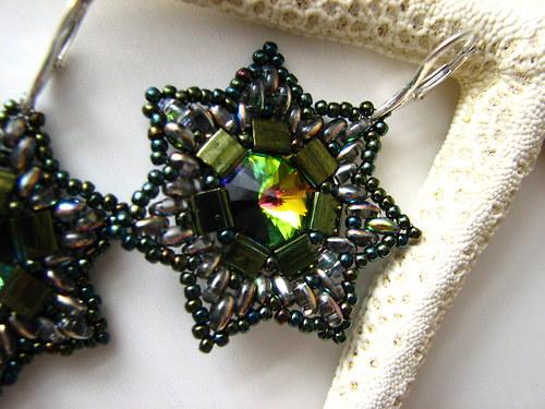 Náušnice - zelená hvězda