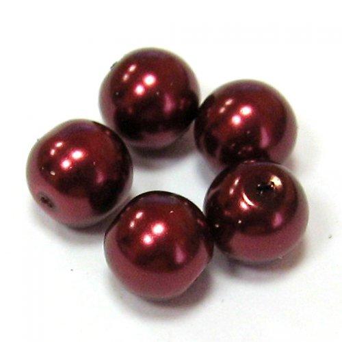 Perla vosková 6 mm - vínová - 10 ks