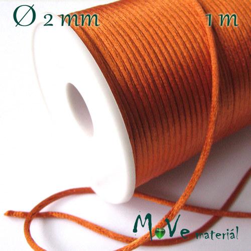 Šňůra Ø2mm saténová, oranžová, 1m