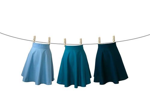 PŮLKOLOVÁ ... modrá sukně v barvě na přání