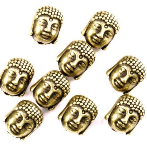 Bronzové korálky s Buddhou, indický styl, 4 kusy