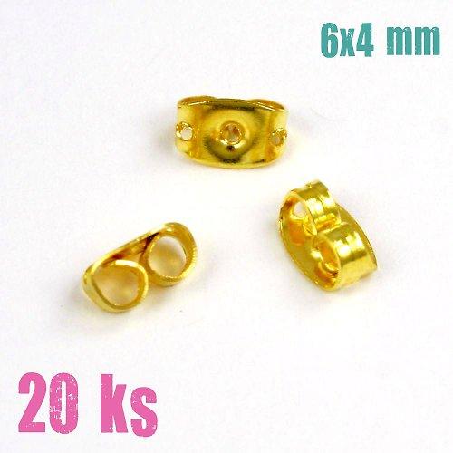 Zarážky - motýlek zlatý 6x4 mm, 20ks