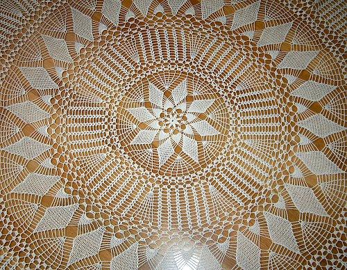 Dečka krémová háčkovaná 140 cm - motiv hvězda