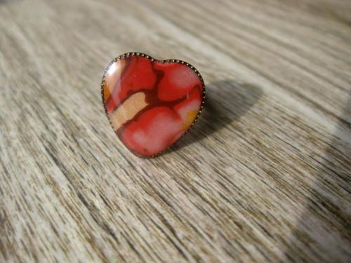Srdiečko zlato - kávovo - červené....prsteň