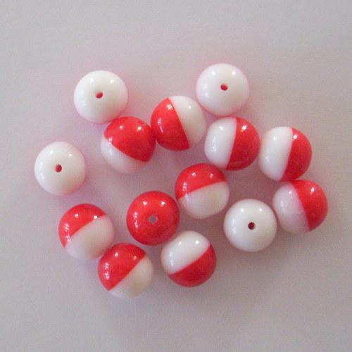 Skleněná kulička - červeno-bílá