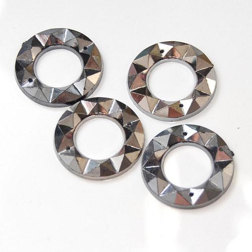 Našívací kamínek Kulatý Platinová 10ks NK-174