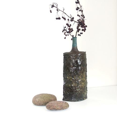 Vysoká s modrým hrdlem - keramická váza