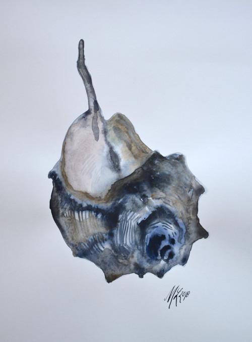 Akvarel modré mušle