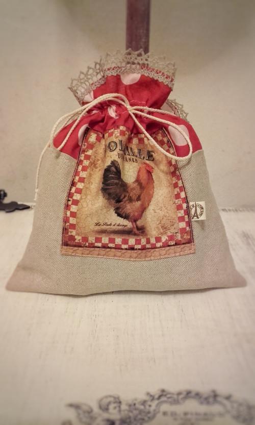 Bavlno-lněný  sáček Le Coq červený