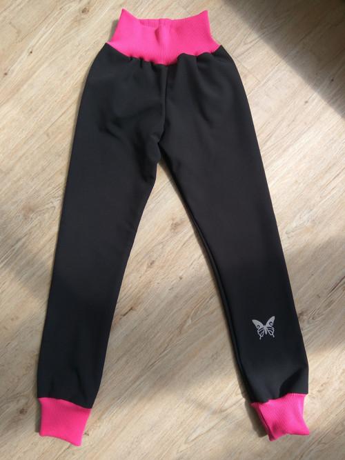 dětské zimní softshellové kalhoty -černá s růžovou