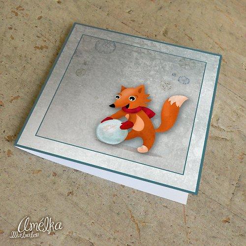 Liška koulí sněhuláka - přání