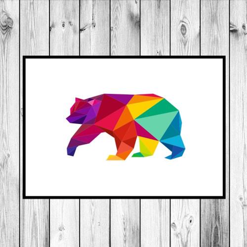 Plakát - Duhový medvěd