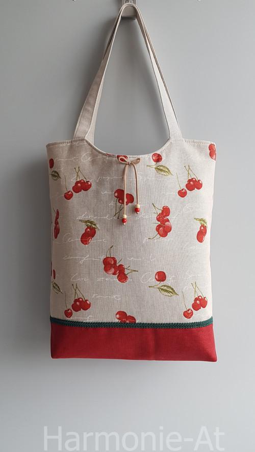 kabelka,taška -  přírodní režná, třešňová