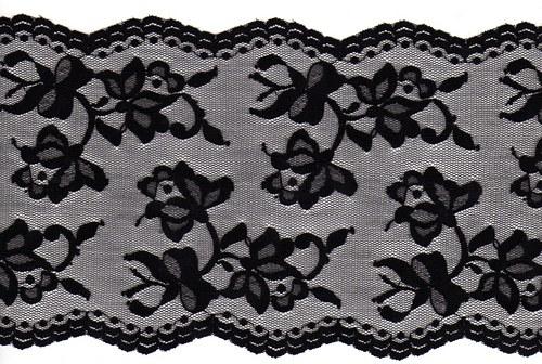 Černá krajka na tylu - rozkvetlé růže
