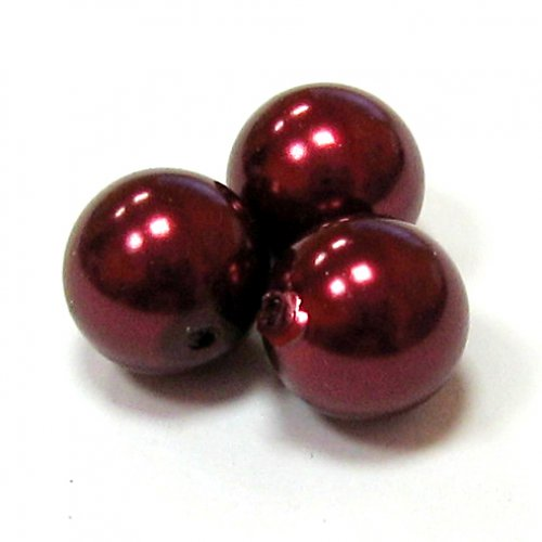 Perly voskové - 10 mm - vínová - 10 ks