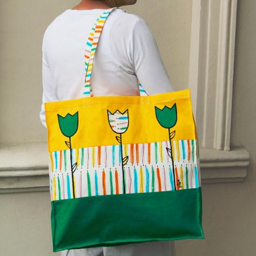 "SLEVA 20% Taška \""Tulipánová\"" žluto-zelená"