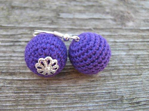 háčkované naušnice- fialové