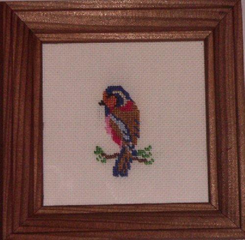 Vyšívaný obrázek - ptáček na větvičce