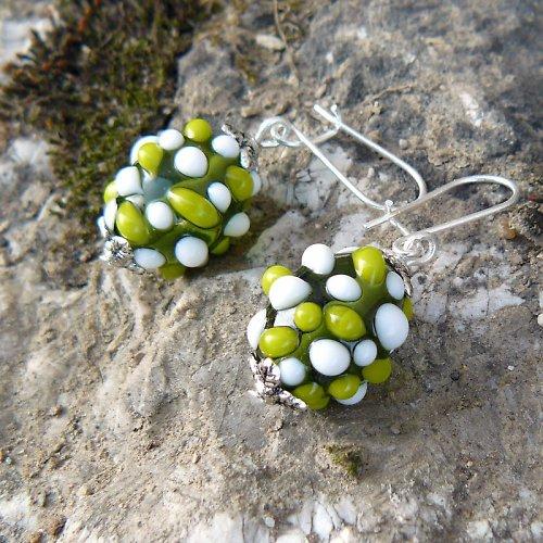 Náušnice - zelené mozaikové olivy