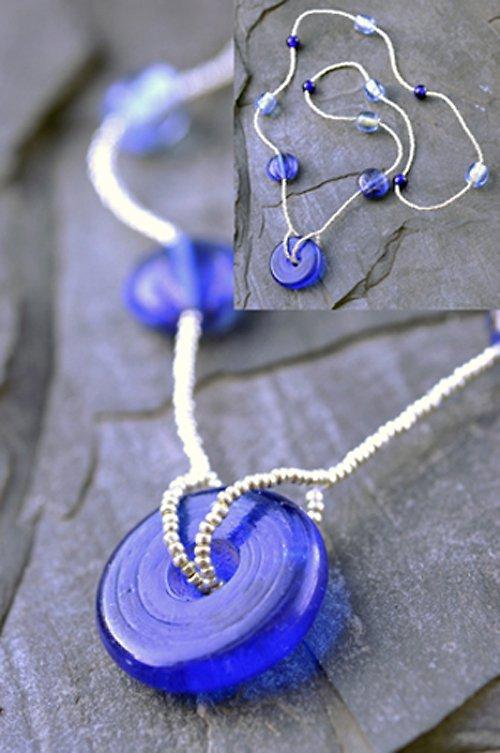 Náhrdelník modré korálky  N0033B