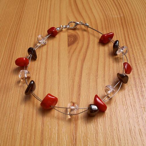 Červený korál, hematit a křišťál  - minimalistický
