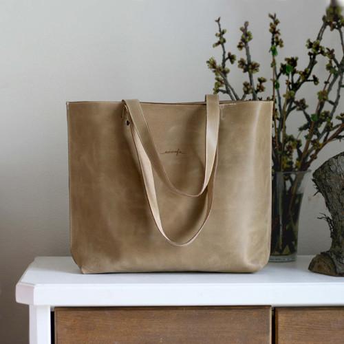 Kožená kabelka Lea (béžová)