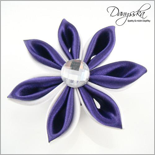 Saténová květina - brož/sponka do vlasů 206