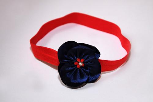 čelenka červená - květ modrý