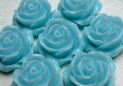 Plastová růže plnokvětá 15 mm - tyrkys / 2 ks