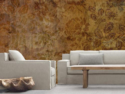 Luxusní vliesová tapeta ,,Brown flowers,,