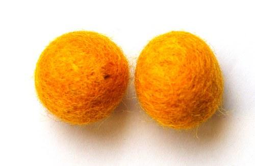 2 ks - plstěné kuličky žluté 20mm