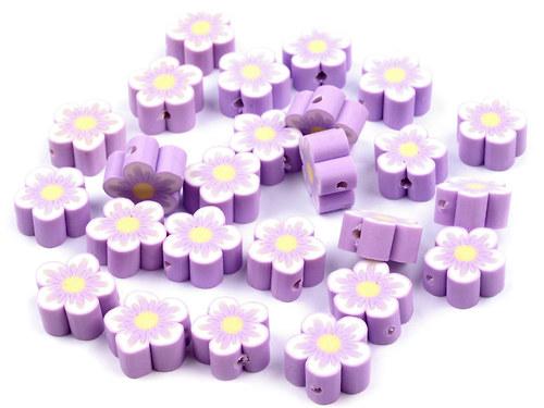 2201002/Fimo korálek květina lila, 3 ks