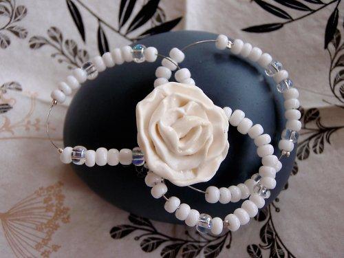 Brož bílá růže