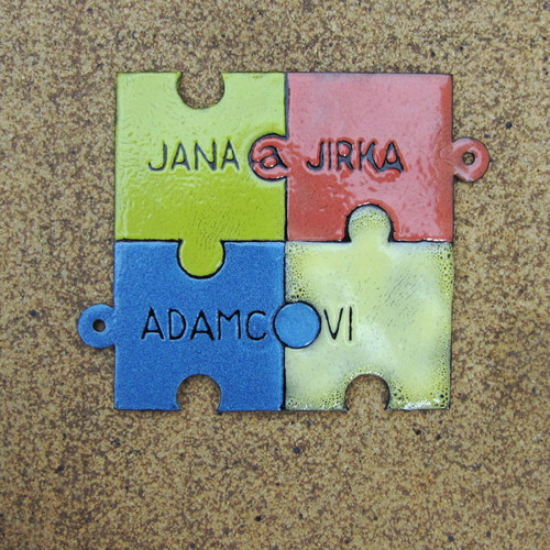 Smaltovaná puzzle cedulka