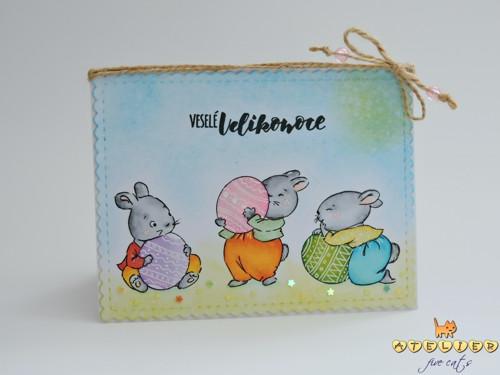 velikonoční přáníčko A6 - králičí partička