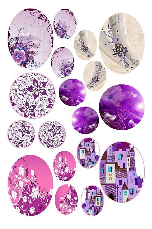 mix motivů růžovo-fialových (B)