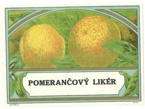 Etiketa Pomerančový likér