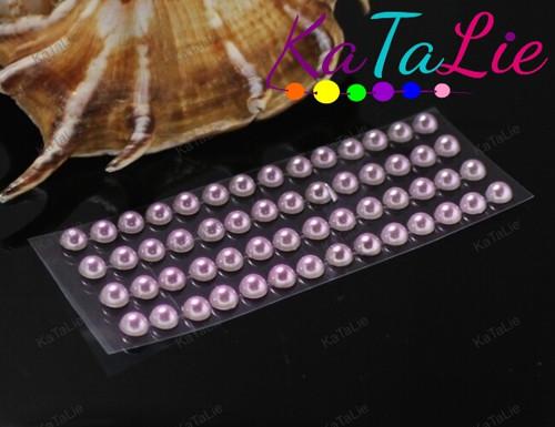 19609-B36 Samolepící kamínky 5mm perly RŮŽOVO-LILA