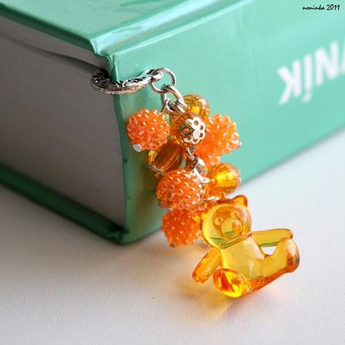 Záložka do knihy medvídek mandarinka - VÝPRODEJ