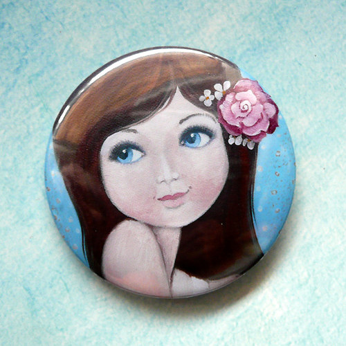 Holčička s růží ve vlasech - magnet