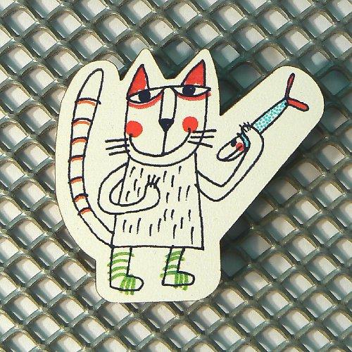 Magnet - Kočka s rybkou