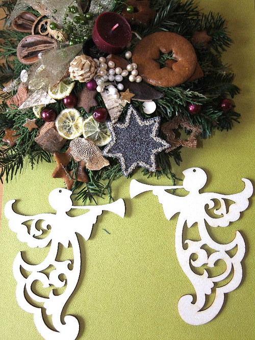 Vánoční dřevěné ozdoby - ZÁVĚS - ANDĚL FILIGRÁN