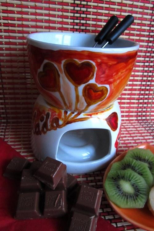 Čokoládové fondue - srdíčka